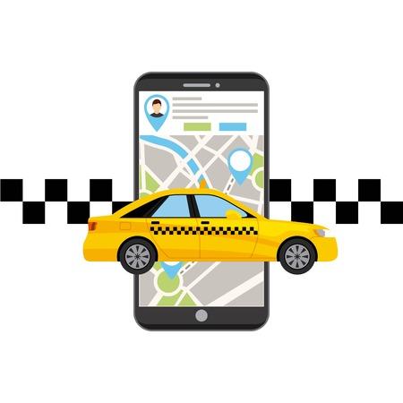 taxi transport publiczny aplikacja technologii projektowania ilustracji wektorowych