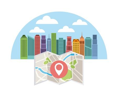 information symbol: buildings infographic city presentation vector illustration design Illustration