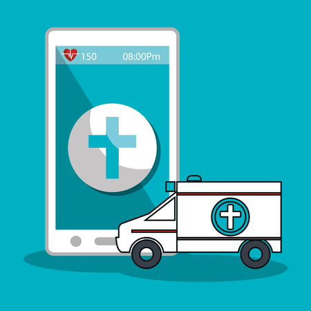health care analytics: smartphone device and medical ambulance vehicle icon over blue background. vector illustration