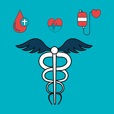 medical symbol and medicine icon set over blue background. vector illustration Çizim