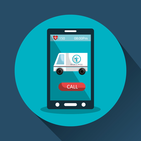 health care analytics: smartphone device and medical ambulance icon on screen over blue circle.vector illustration Illustration