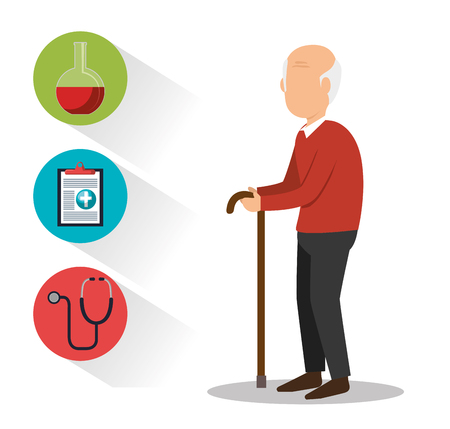 avatar old man with cane and medicine icon set over white background. vector illustration Ilustração