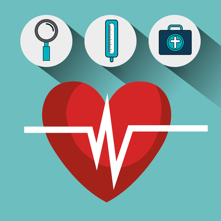 pulsating: cardio pulse heart and medical icon set over blue background. vector illustration