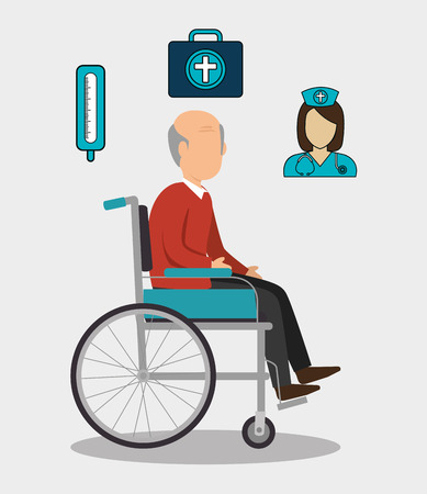 avatar old man on wheelchair with medicine icon set over white background. vector illustration