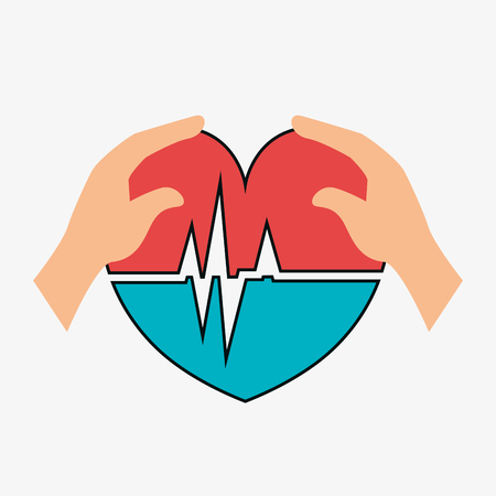 cardio: human hand with cardio pulse heart icon over white background. vector illustration