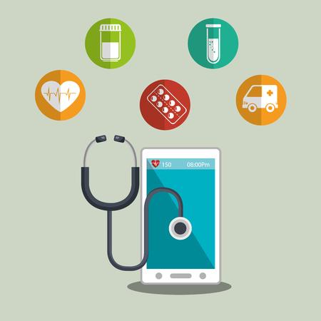 health care analytics: smartphone device and medical icon set. medicine online design. colorful design. vector illustration Illustration