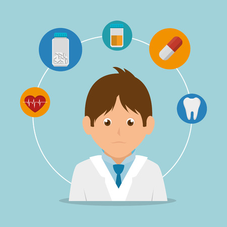 sonar: avatar medical doctor wearing blue tie and medicine icons. colorful design. vector illustration