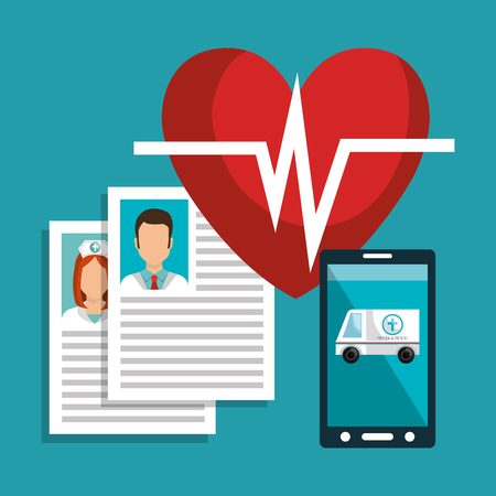 health care analytics: smartphone device and medical icon set. medicine online theme. colorful design. vector illustration Illustration