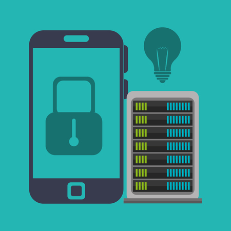 host: smartphone portable with padlock icon on screen and host device over blue background. vector illustration
