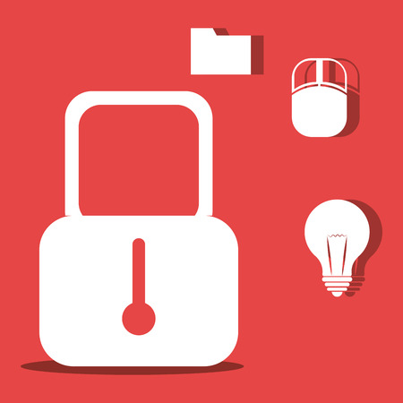 security padlock with bulb light and mouse device icon over red background. vector illustration Illustration