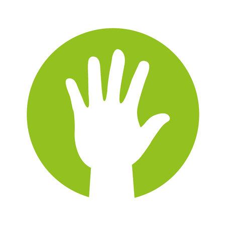 hand human silhouette ecology symbol vector illustration design