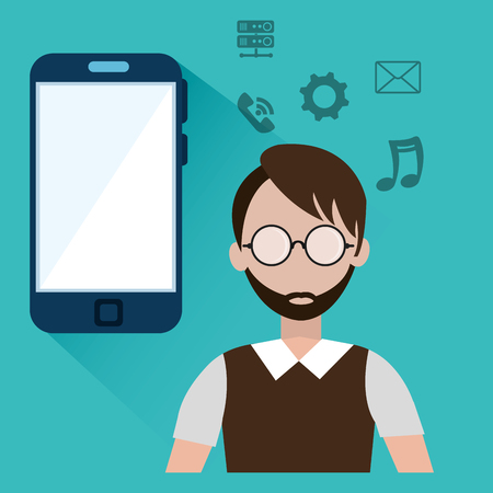 host: avatar man with smartphone device and host and data icon set over blue background. vector illustration