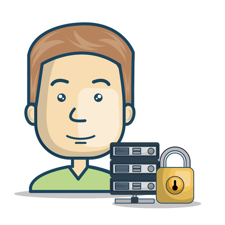 host: avatar man smiling with padlock and host device icon over white background. vector illustration