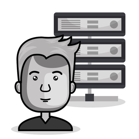host: avatar man smiling with data host device icon over white background. vector illustration Illustration