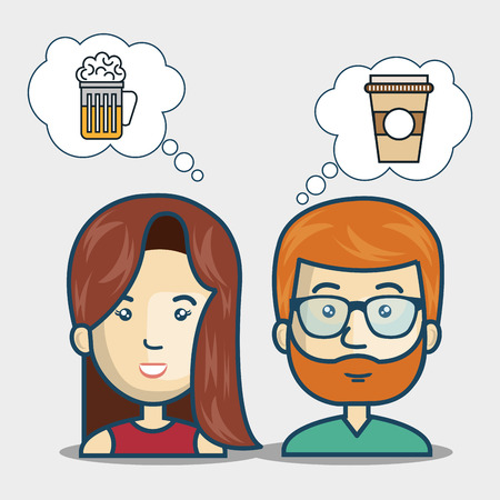 dinner date: avatar woman and man smiling thinking in food and drinks over white background. vector illustration