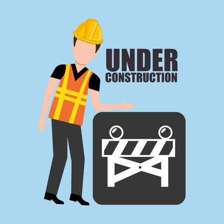 avatar construction worker with yellow helmet safety equipment and barrier over blue background. vector illustration Illustration