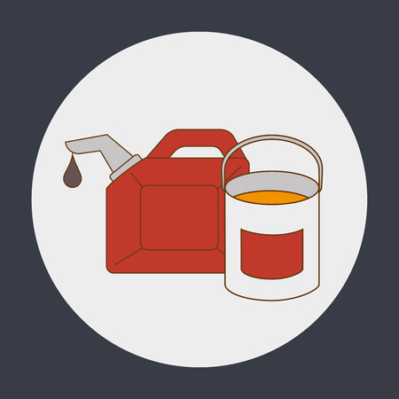 grease paint: oil gallon and paint bucket over white circle and black background. vector illustration