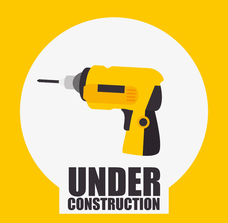 yellow drill tool over white circle. under construction design. vector illustration Illustration