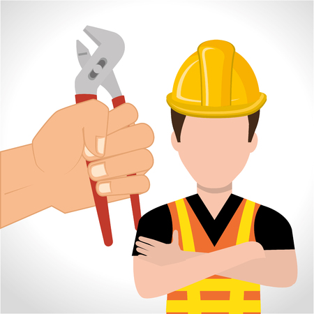 avatar construction worker with yellow helmet safety equipment and hand holding groove pliers tool. vector illustration