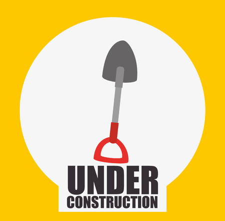 shovel tool with red handle over white circle and yellow background. vector illustration