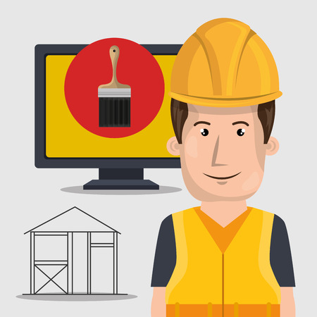industrial drawing: avatar architect man smiling with yellow helmet safety equipment and paint brush on monitor computer screen over white background. vector illustration