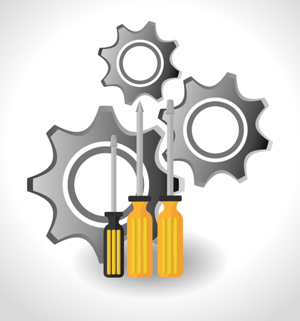 warning saw: screwdrivers with yellow handle and gears icon over white background. vector illustration