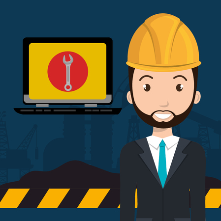 laptop repair: avatar man architec wearing suit and tie with laptop computer and wrench tool on screen. vector illustration