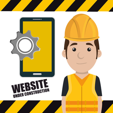 safety gear: avatar construction worker smling  with yellow helmet safety equipment and smartphone with gear icon. vector illustration