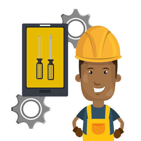 avatar construction worker with yellow helmet safety equipment and smartphone with screwdrivers on screen . vector illustration