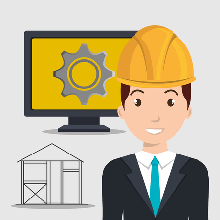 safety gear: avatar architect man smiling with yellow helmet safety equipment and monitor computer with gear wheel on screen over white background. vector illustration Illustration