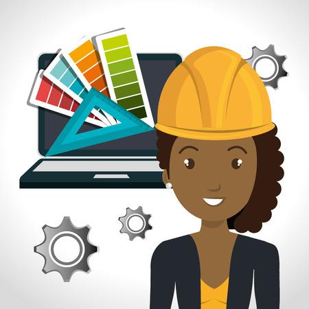 avatar femme architecte avec un équipement jaune de sécurité du casque et un ordinateur portable et des engrenages icône sur fond blanc. illustration vectorielle Vecteurs