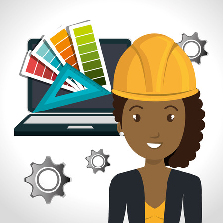 avatar woman architect with yellow helmet safety equipment and laptop computer and gears icon over white background. vector illustration Illustration