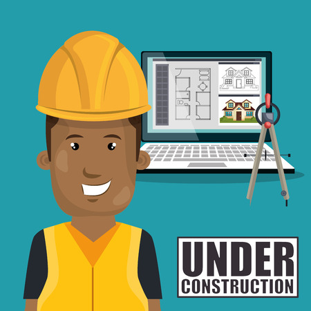 laptop repair: avatar worker man smiling with yellow helmet safety equipment and architecture  construction digital plans on computer laptop screen over white background. vector illustration Illustration