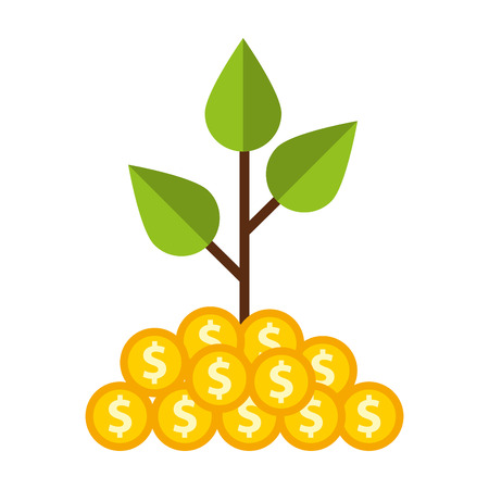 grow money: plant with coins money vector illustration design