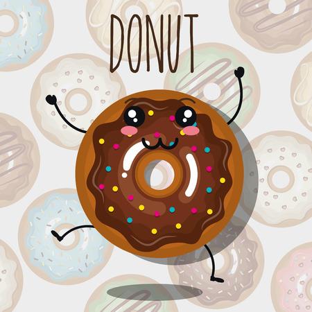 チョコレートの甘いドーナツ ドーナツの背景の上の幸せそうな顔と漫画。ベクトル図
