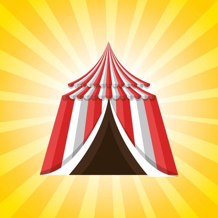 event party festive: red and white striped tent circus icon over yellow background. colorful design. vector illustration