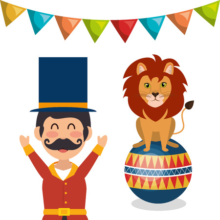 event party festive: lion animal  and circus man show icon over white background. colorful design. vector illustration Illustration