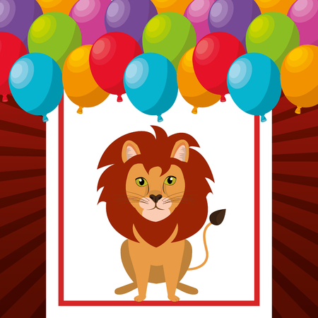 event party festive: lion animal circus show and balloons icon over red and white background. colorful design. vector illustration