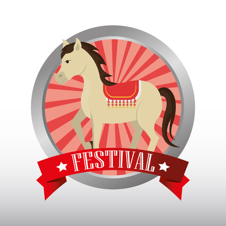 event party festive: button with ribbon and horse circus festival  show icon over white background. colorful design. vector illustration