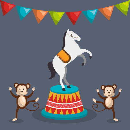 horse show: happy monkeys and horse circus festival show over gray background. colorful design. vector illustration Illustration