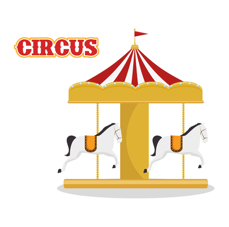 carousel horses circus atraction over white background. colorful design. vector illustration Illustration