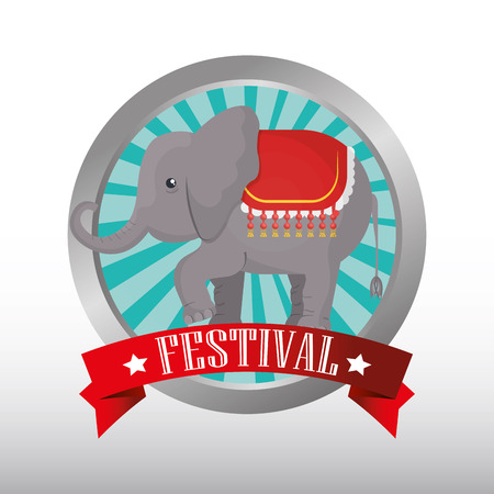 playfull: button with ribbon and elephant circus festival  show icon over white background. colorful design. vector illustration