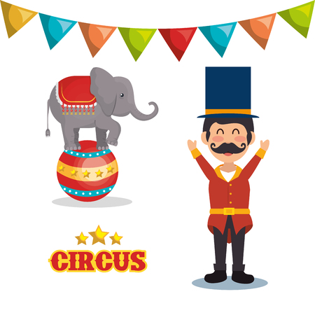 playfull: circus elephant and happy man festival show over white background. colorful design. vector illustration