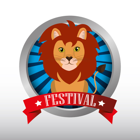 event party festive: button lion animal circus festival show icon over white background. colorful design. vector illustration