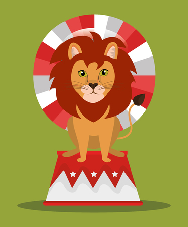 event party festive: lion animal  circus show icon over  green background. colorful design. vector illustration