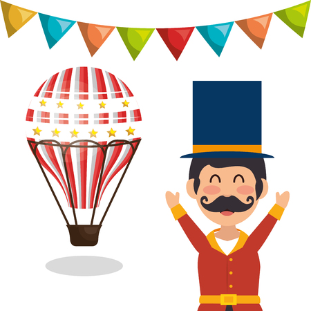 air balloon avatar happy man announcer circus festival over white background. colorful design. vector illustration