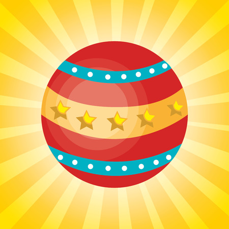 event party festive: colorful circus ball over yellow background. vector illustration