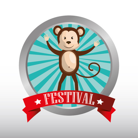 event party festive: button with ribbon and happy monkey circus festival  show icon over white background. colorful design. vector illustration