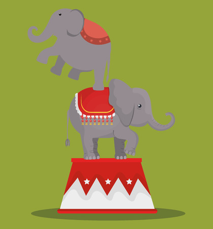 playfull: circus elephant festival show over green background. vector illustration