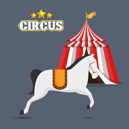 event party festive: horse and red and white striped tent circus icon over gray background. colorful design. vector illustration